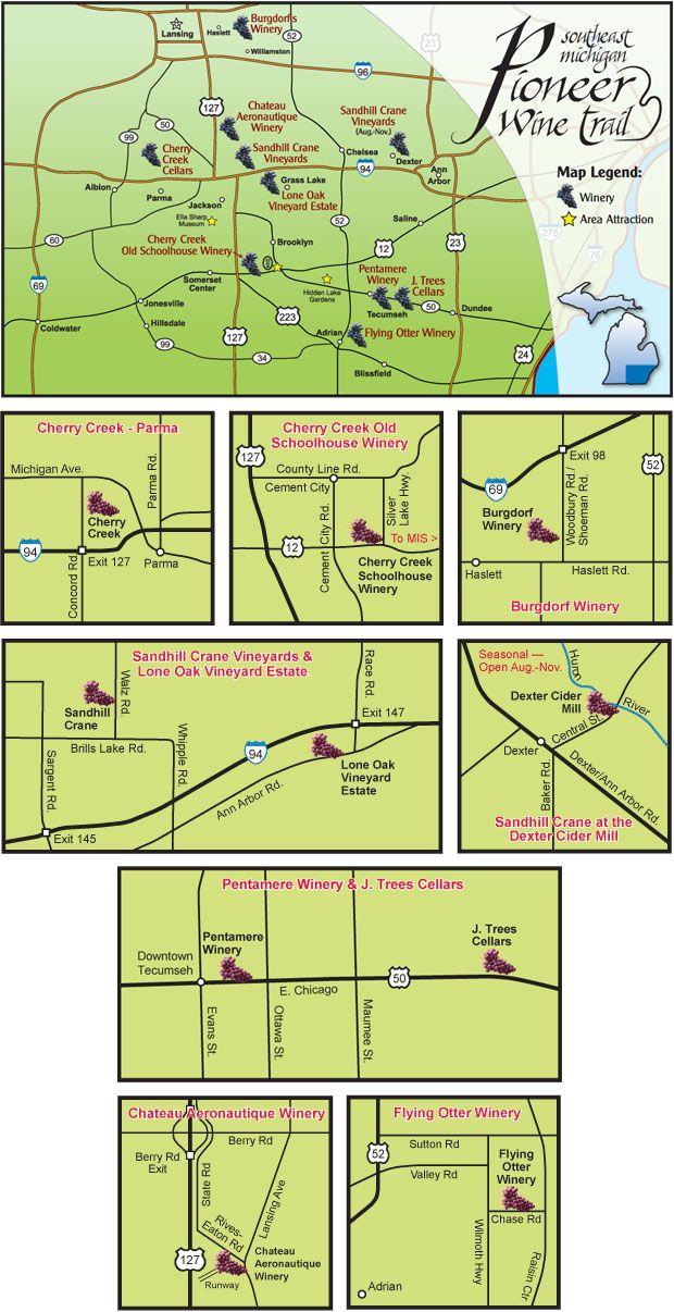 Southeast Michigan Pioneer Wine Trail Map Travel Pinterest - Michigan wineries map