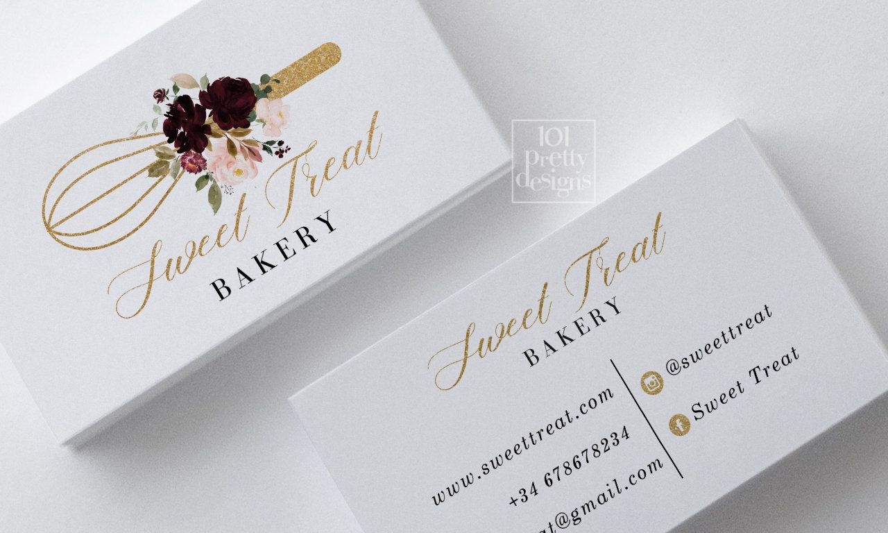 Bakery Business Card Printable Business Card Baking Business Cards Design Gold Glitter Flowers Desserts Business Card Catering Kitchen Cake Bakery Business Cards Baking Business Cards Cake Business Cards