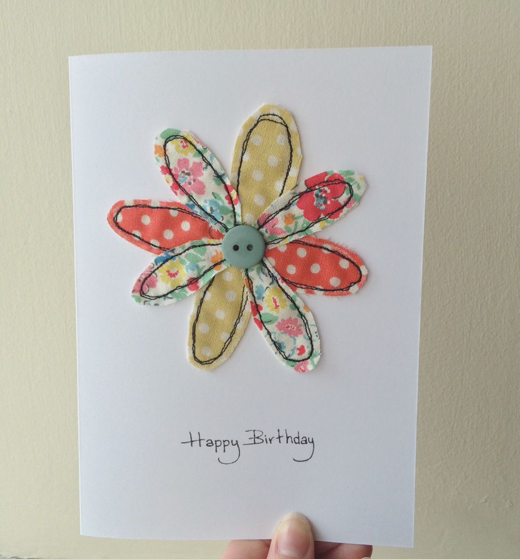 Handmade free motion machine embroidery birthday card