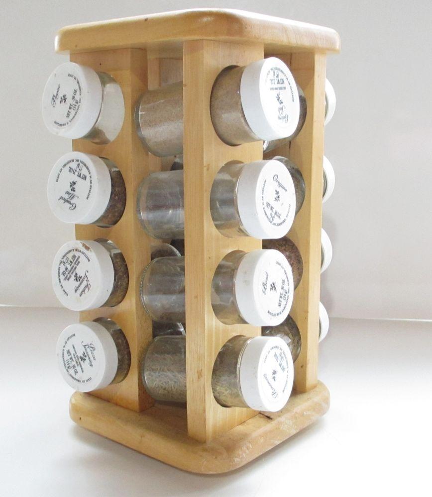 Woodworking Plans For Kitchen Spice Rack: M Kamerstein Inc Oak Wood Spice Rack On Lazy Susan, Spice