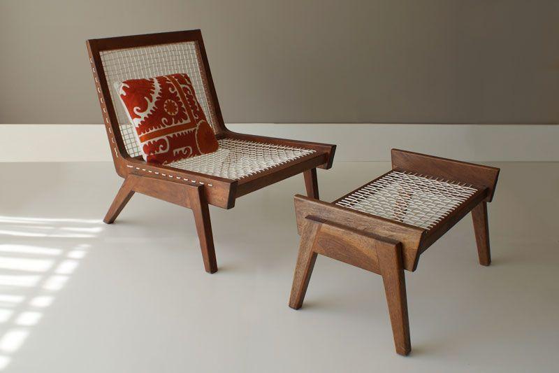 Silla baja y reposapiés vintage en madera de mahagony y trenzado por ...
