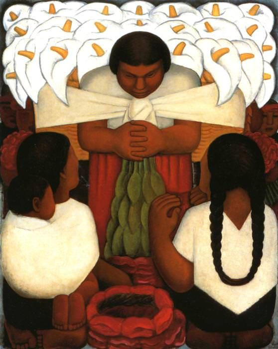 "2 rects.? sim. nightie back? Tack cross or not? - ""Flower Festival: Feast of Santa Anita, 1931 by Diego Rivera"""