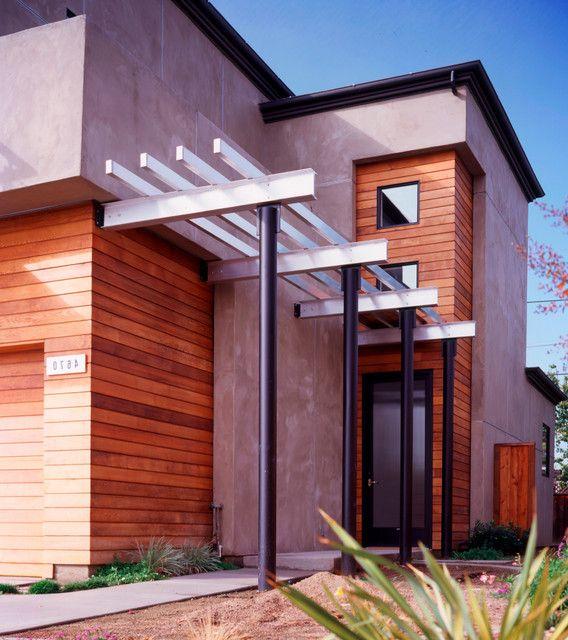 Inspiring Pergola Garage 6 Architectural Design Carport: Designing Contemporary Entry Using Red Canopy, Glass Door