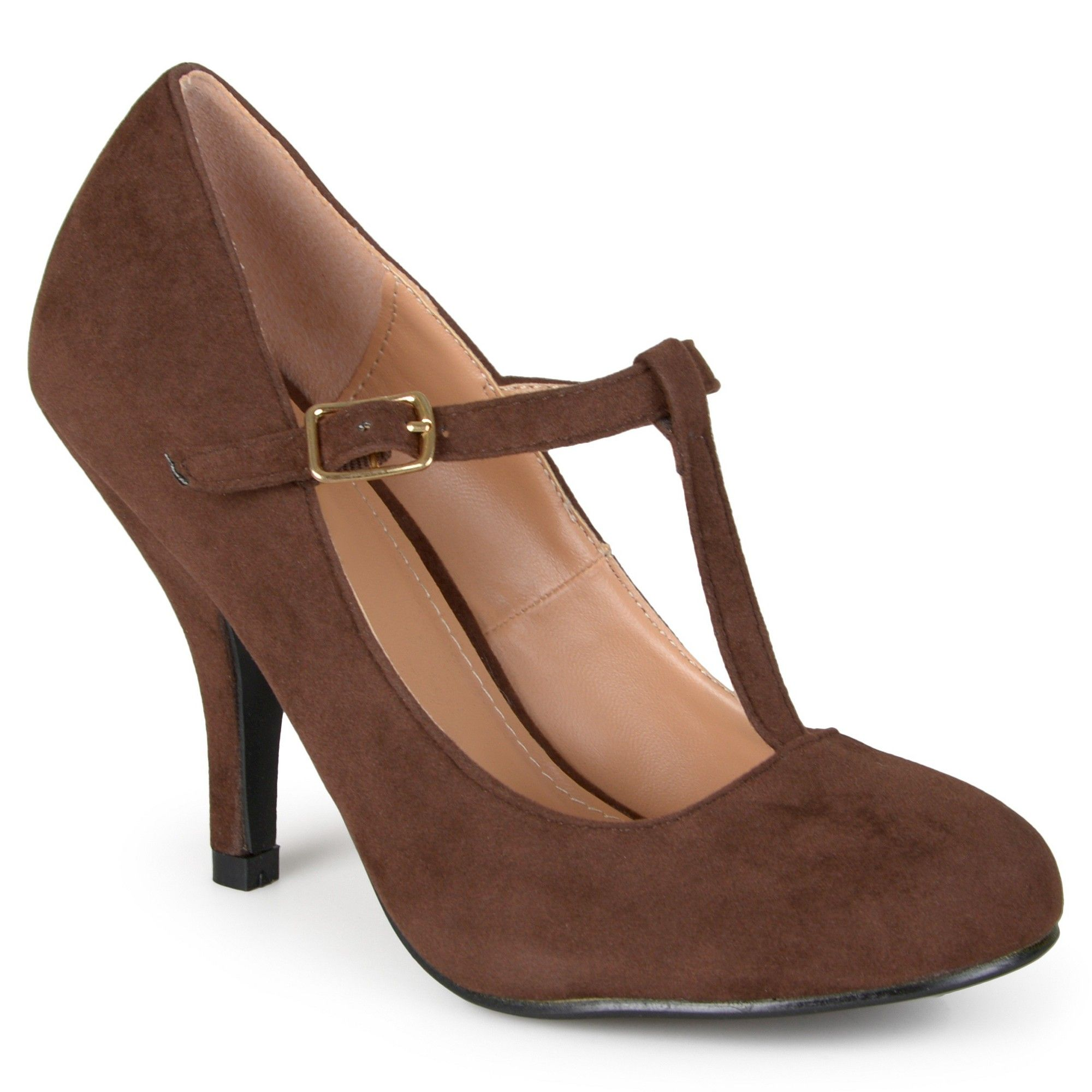 c9a16cef8f7d Women s Journee Collection Wide Width Suede T-Strap Mary Jane Pumps - Brown  8.5W