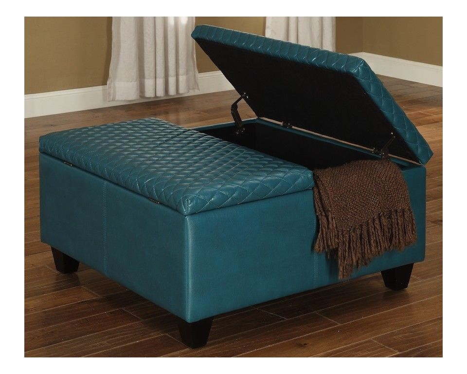 Square Storage Ottoman Blue Faux Leather Sam Levitz Furniture