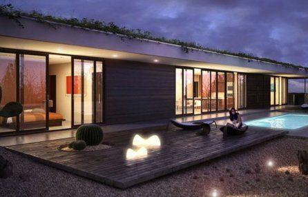 Plano de casa de una planta con piscina casa moderna for Casa minimalista con alberca