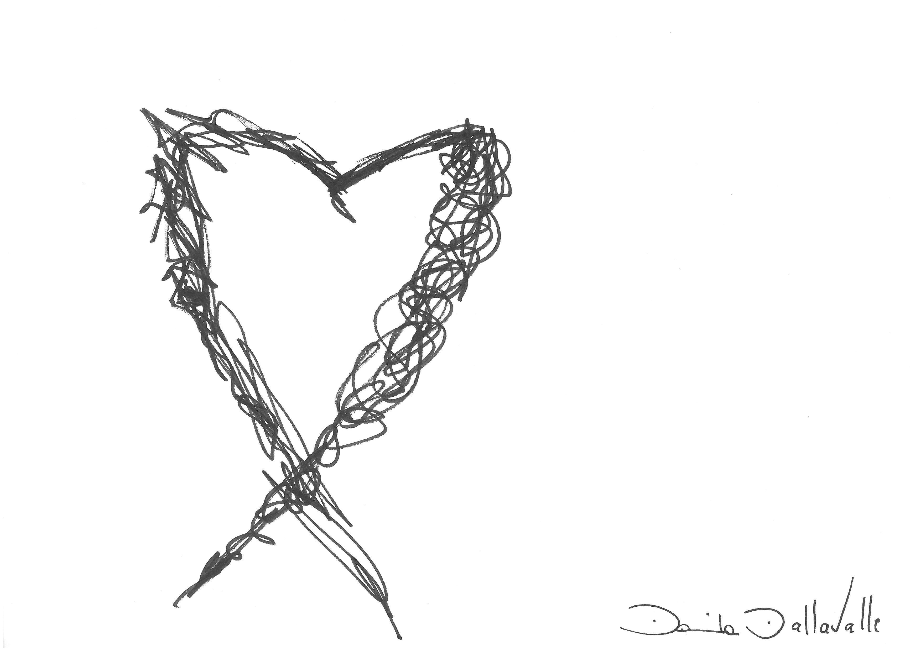 DARTGR0215052 #Heart #Black #love #Minimal #DanielaDallavalle #Grafismi #loveistheanswer #ink #sketches #art #sentences #phrase