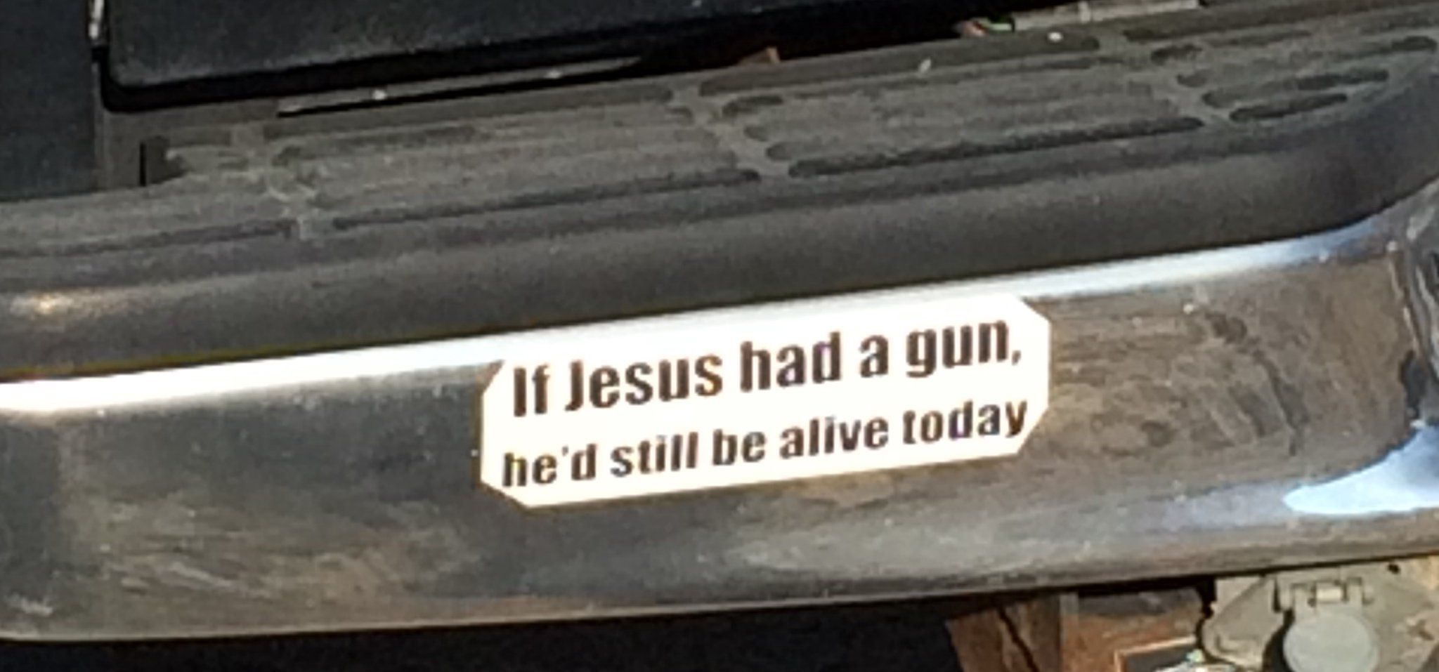 A stupid bumper sticker is a stupid bumper sticker but this message about jesus was just the means to the end of the main point a political argument