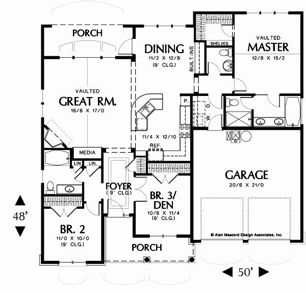 50 Foot Wide House Plans Lovely Plan W 1146 The Godfrey A 1580 Sq Ft 1 Story Cottage In 2020 House Plans House Plans And More Floor Plans