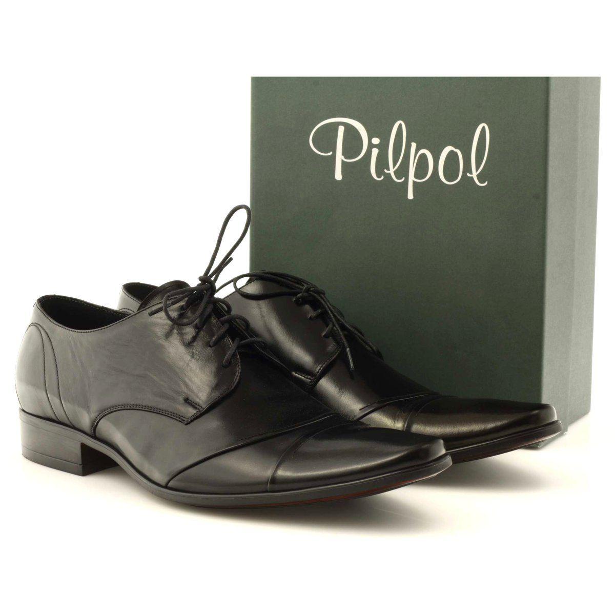 Polbuty Buty Meskie Skorzane Pilpol 1138 Czarne Leather Shoes Men Shoes Mens Official Shoes