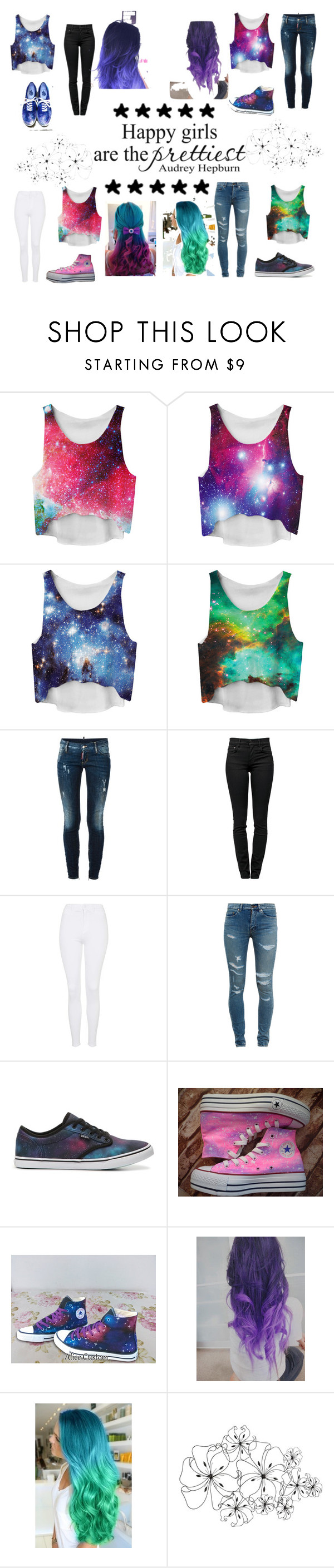 """galaxy squad outfit"" by dianewalkerjj ❤ liked on Polyvore featuring Dsquared2, Proenza Schouler, Topshop, Yves Saint Laurent, Vans, Converse, Cyan Design and galaxy"