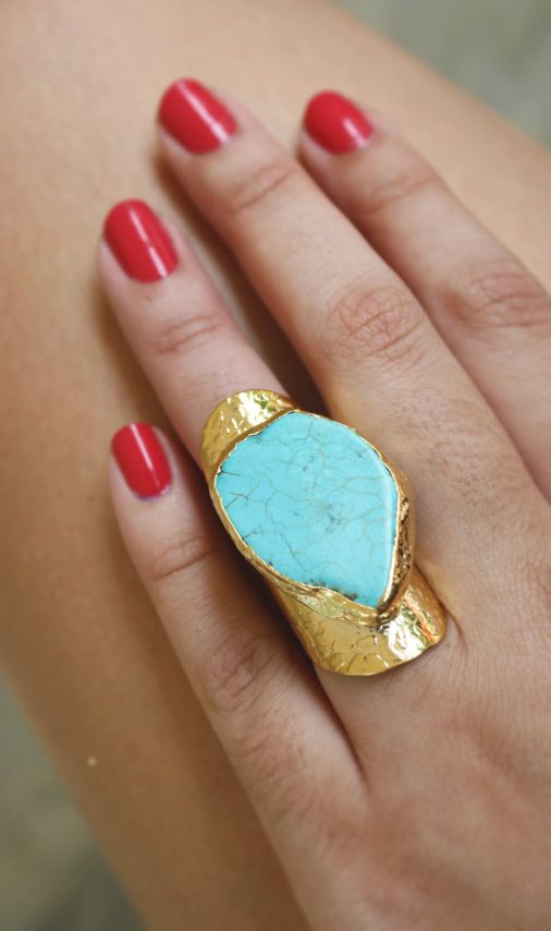 Turquoise ring i adore this color combo thinking of - Tiffany blue and brown living room ...