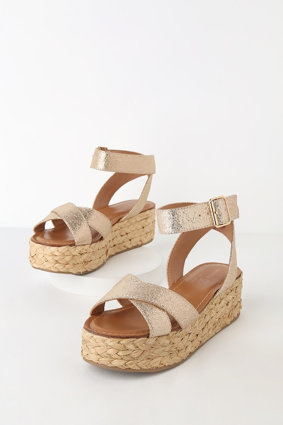 Zodiac Gold Flatform Espadrille Sandals