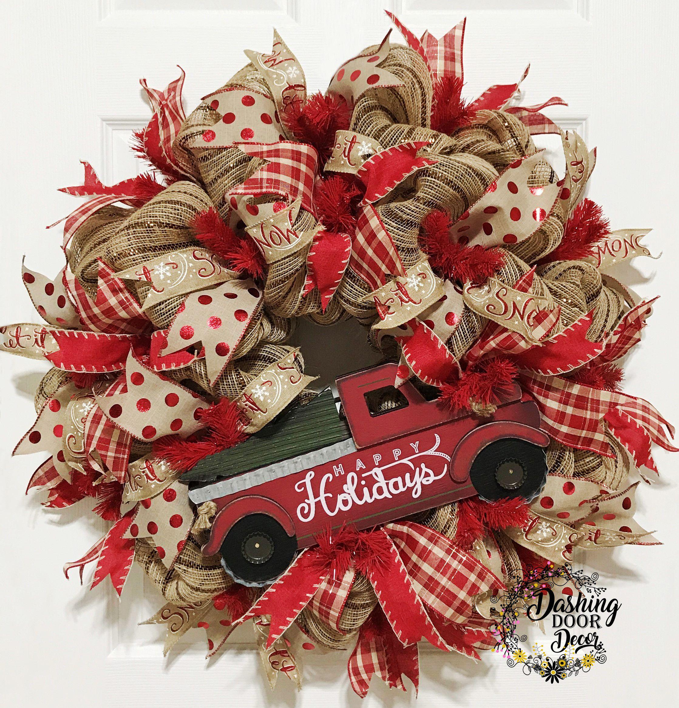 Happy Holidays Rustic Burlap Christmas Bow