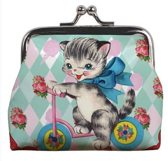 Mabel Scooter kitty cat kitten coin purse NEW vintage retro style kitten girls…