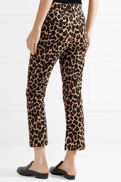 59b088648240 FRAME - Cropped Leopard-print Cotton-blend Velvet Flared Pants - Leopard  print