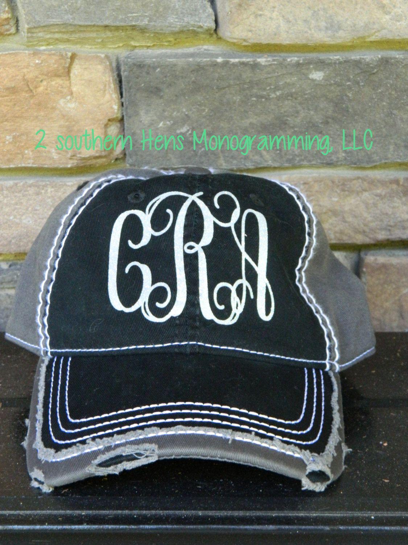 Glitter Vinyl Monogram Distressed Vintage Baseball Hat