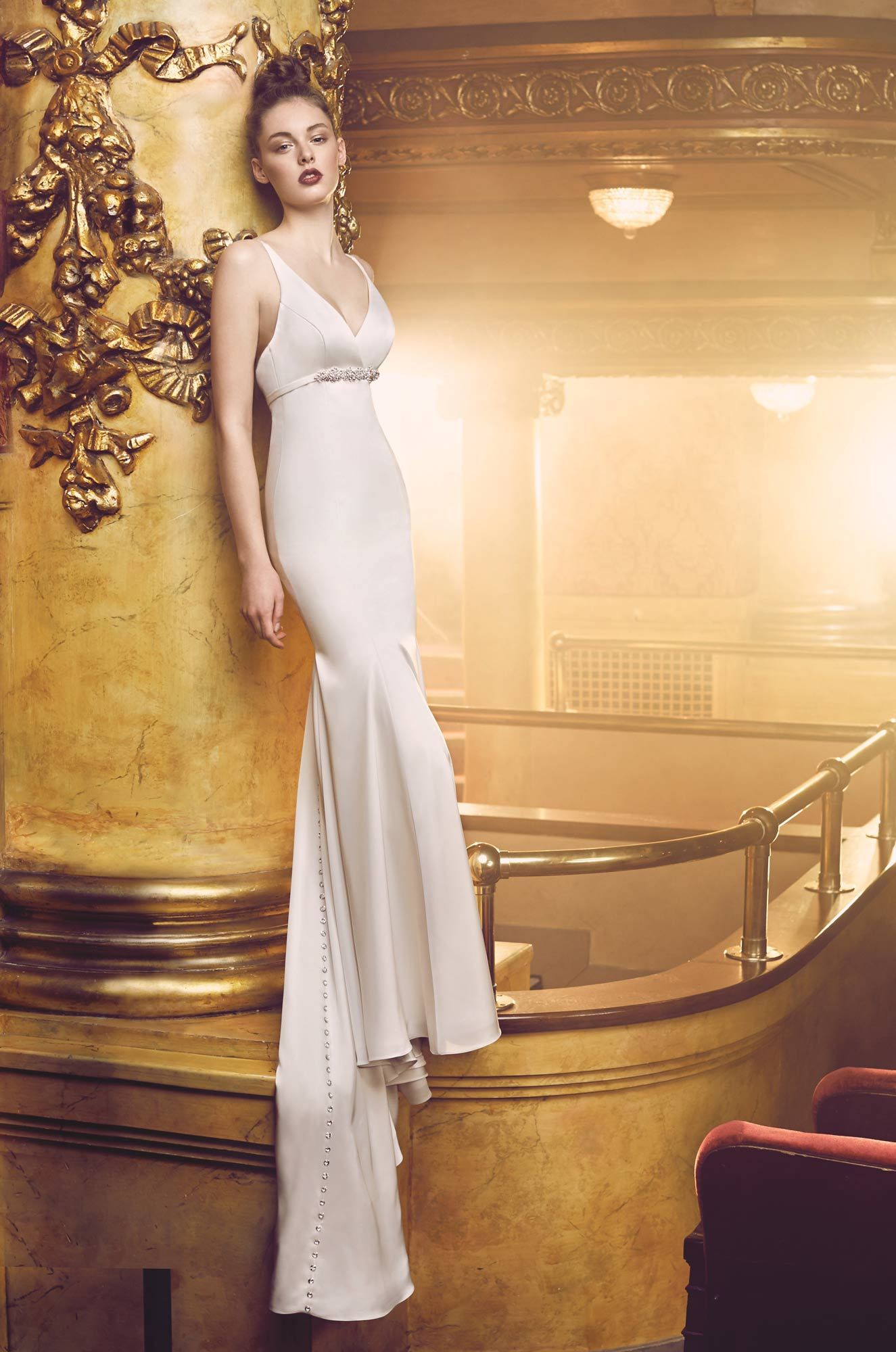 Empire cut satin wedding dress style paloma blanca satin