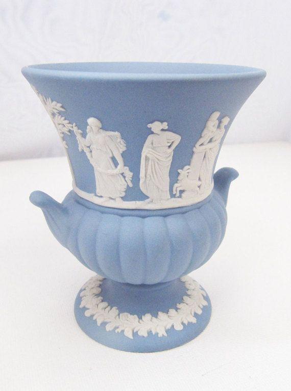 Vintage Blue Wedgwood Urn Vase Jasperware Blue White Wedgwood