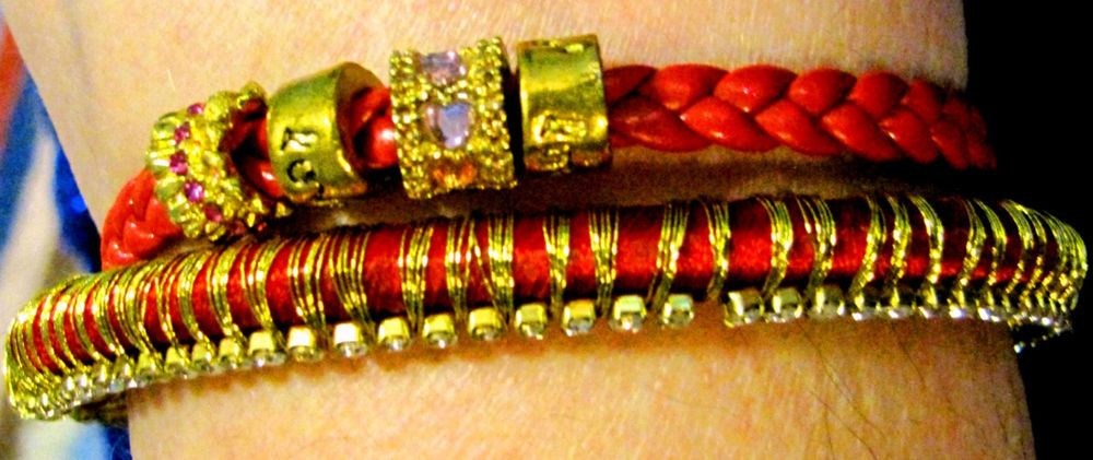 Bracelet Set, Indo/Asian Bangle w/Red Silk & Rhinestones+Red Leather with Charms at http://www.ebay.com/usr/bozica32
