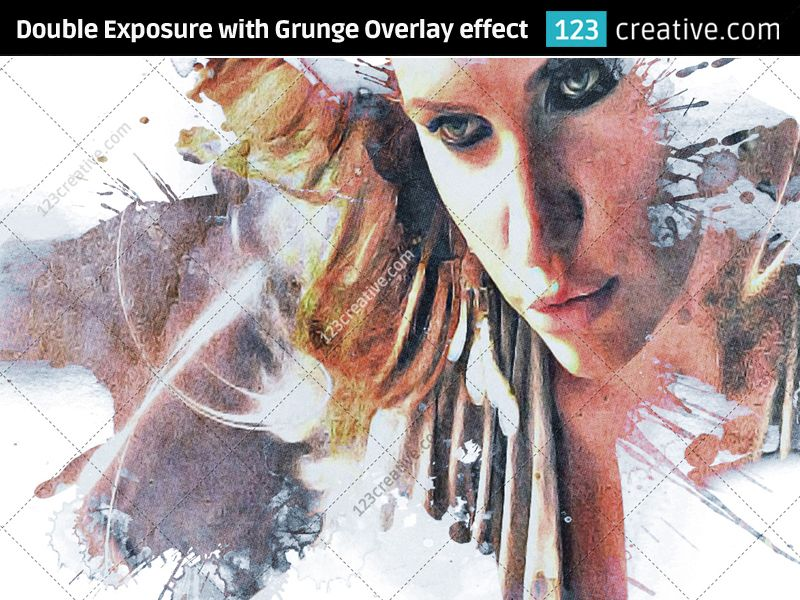 ► Double Exposure with Optional GRUNGE OVERLAY EFFECT ON PHOTO / IMAGE - photo to grunge artwork. Double Exposure with Optional Grunge Overlay - with this Photoshop effect you can in less than 10 seconds amake unique artwork from your image. Product page: http://www.123creative.com/photoshop-add-ons-photo-actions-atn-and-text-effects/1289-double-exposure-with-optional-grunge-overlay-effect.html