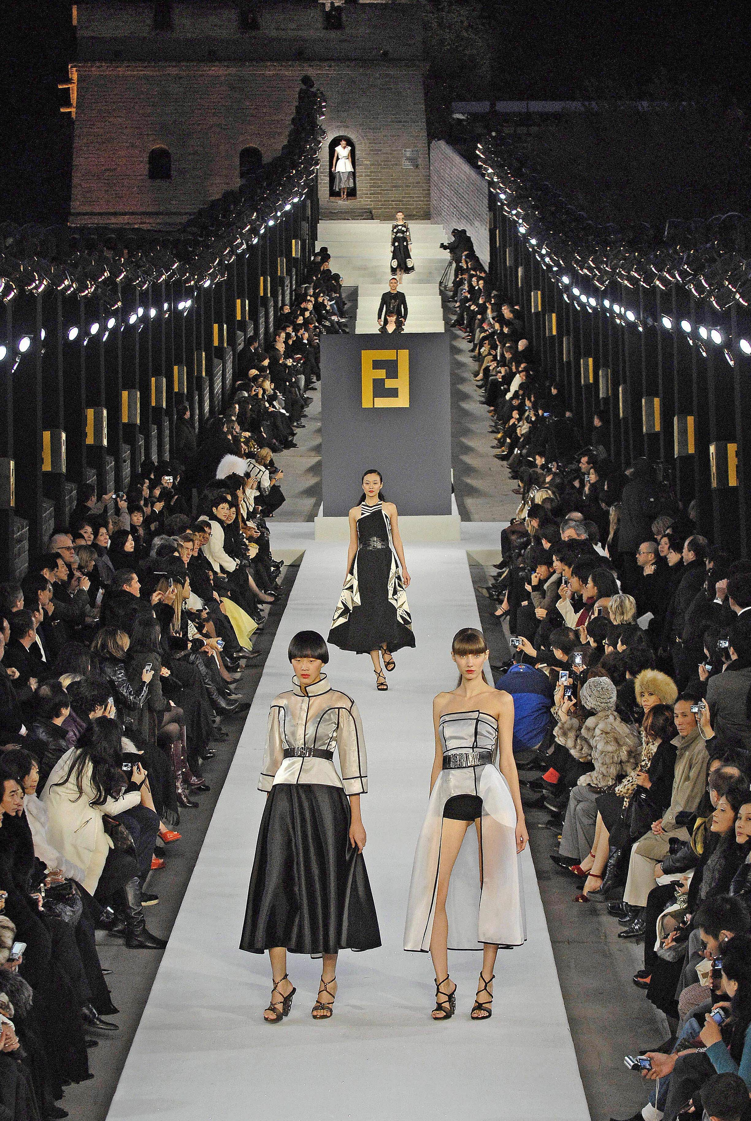 Image result for iconic fashion shows great wall china