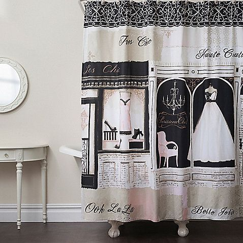 This Fun Shower Curtain Showcases A Printed French Boutique Scene In Shades  Of Black, ...
