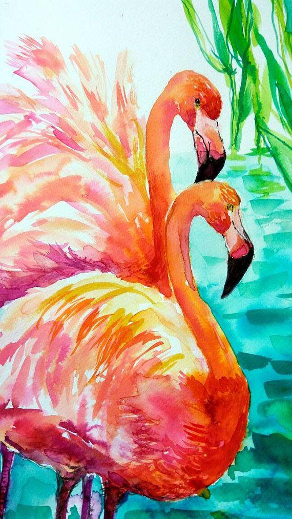 FLAMINGO Original watercolor painting by Tuka Animals wall art Flamingo wall art Home decor Wall gallery Animals painting Flamingo wall art