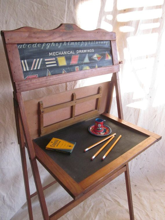 Vintage School Desk Child Educational Learning Board Home ...