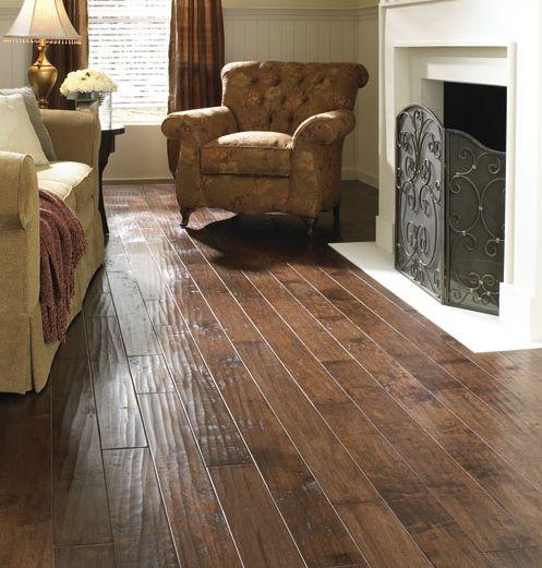 Living Room Flooring Pinterest: Fireplace Living Room With Hand Scraped Laminate Flooring