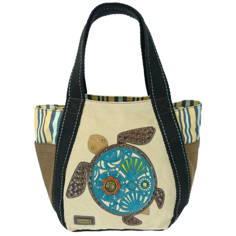 Turquoise Turtle CHALA Every Day Zip Tote Cotton Canvas Handbag Carry All