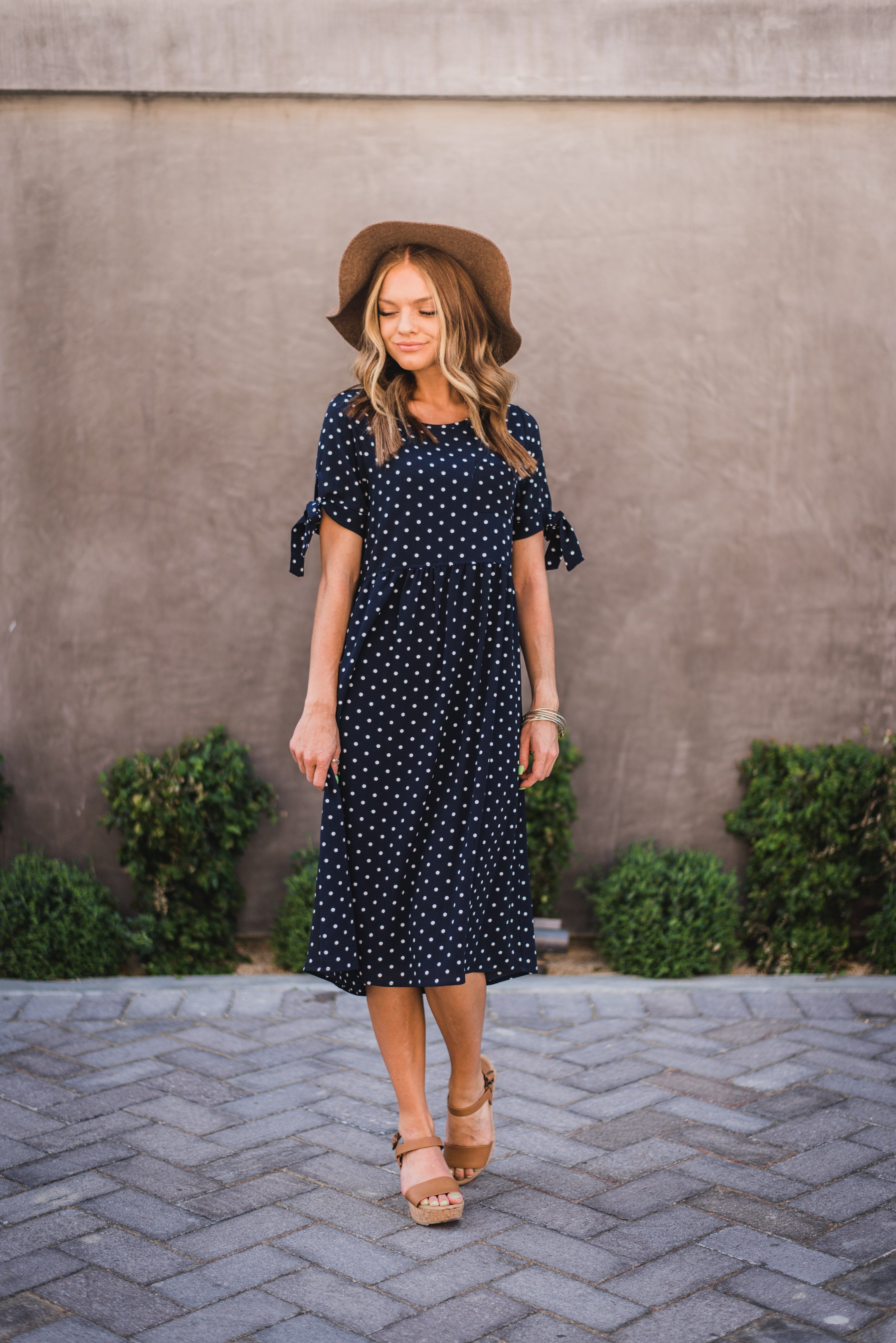 008c33b459d73 THE MILLIE DOTTED MIDI DRESS IN NAVY