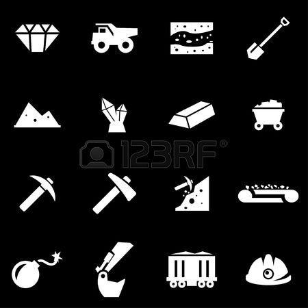 coal miner: Vector icono de la minería blanco fijado en el fondo negro Vectores