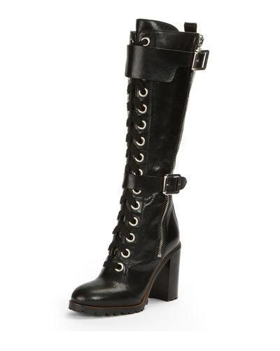 25420d213 Women's Designer Boots at Neiman Marcus. X3WWH Frye Harlan Tall Lace-Up  Military Boot
