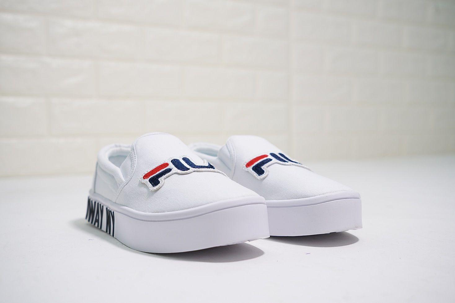 Fila Court Slip On White dark blue red Women's Canvas Shoes
