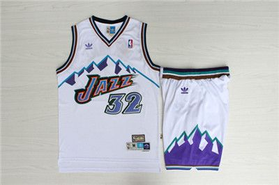 new styles c9048 30fab $42 Utah Jazz 32 Karl Malone White Hardwood Classics Jersey ...