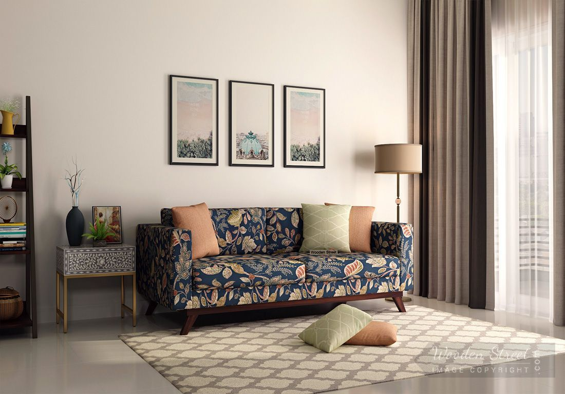 Buy Casper 3 Seater Sofa Cotton Dusky Leaf Online In India Wooden Street Printed Fabric Sofa 3 Seater Sofa Seater Sofa