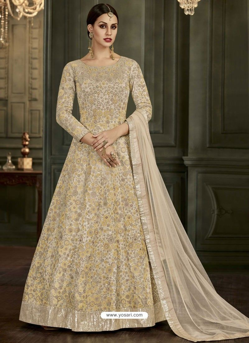 a0ab736be7 Cream Mulbary Silk Heavy Embroidered Designer Floor Length Suit in ...