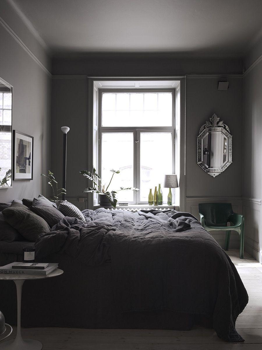 Dark Grey Bedroom In The Home Of Lotta Agaton