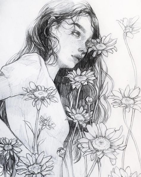 I snuck into my neighbors yard to take these pictures of her 🌼s. 🙈..📷: @introverted_j #dailysketch #pencilsketch #pencildrawing #illustration #art #aesthetic #🌼