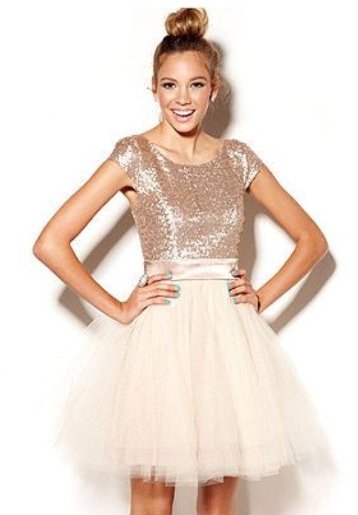 Custom junior bridesmaid dress in rose gold sequin blush for Blush and gold wedding dress
