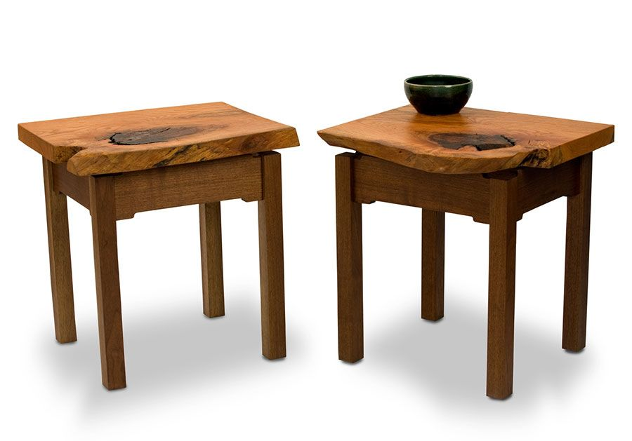 The Calhoun Side Tables Are Beautiful Live Edge Side Tables With Single  Board Tops Of Oak With Walnut Mortise And Tenon Cloud Lift Bases.