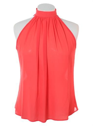 Plus Size Butterfly Back Sheer Coral Top Plus Size Clothing Club