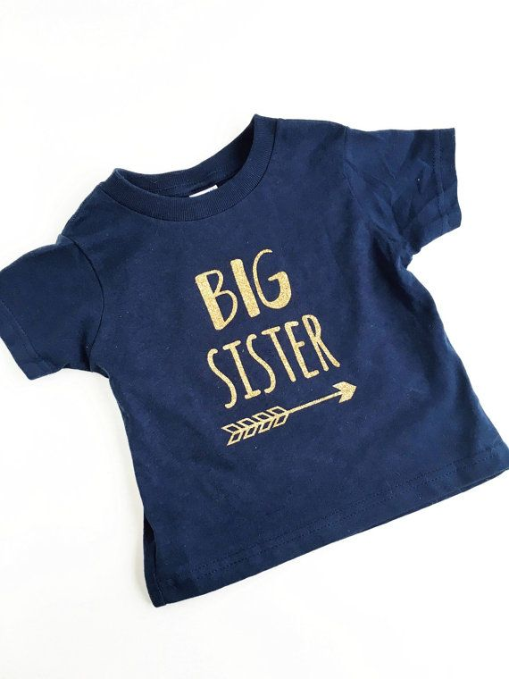 Big Sister Shirt  Gold and Navy Glitter Tee by EweAndMeShop