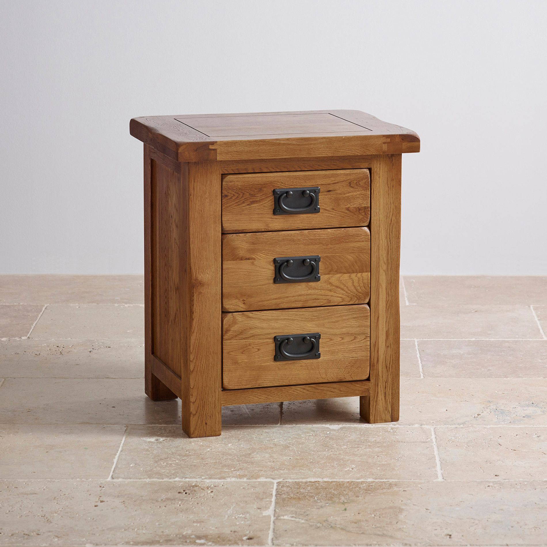 Original rustic solid oak 3 drawer bedside table bedside cabinet original rustic solid oak 3 drawer bedside cabinet use as a lamp table aloadofball Image collections
