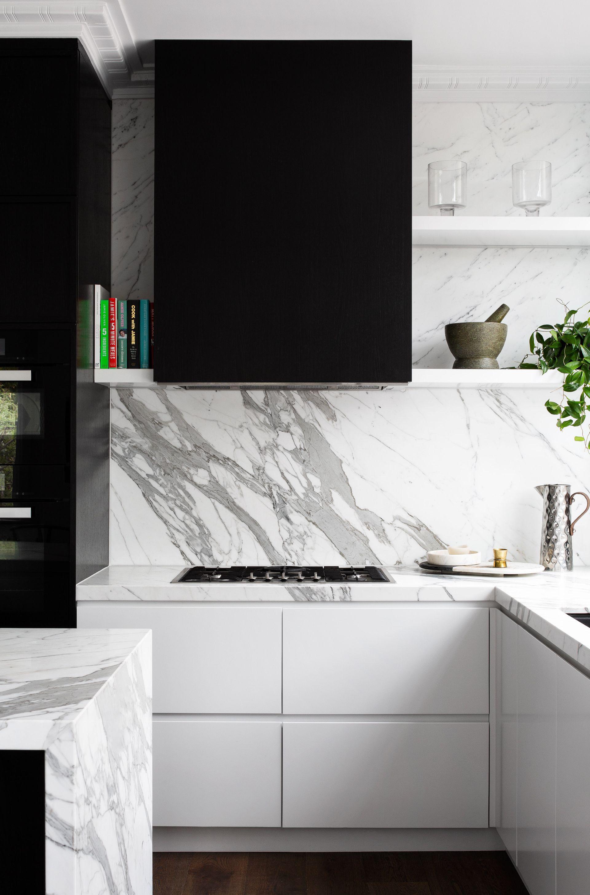 Marble Bench And Splashback White Marble Kitchen Black Modern Kitchen Interior