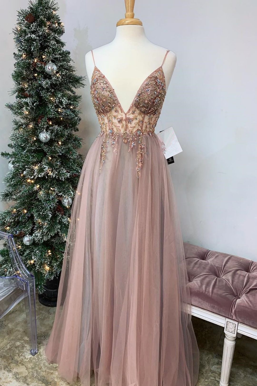 Straps ALine Beading Rose Wood Prom Dress with Crystal