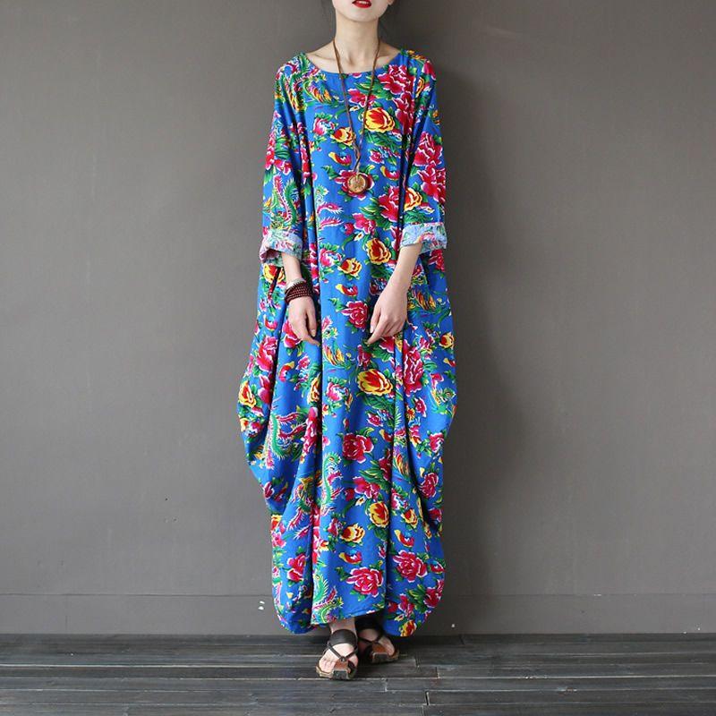 Size Vintage Plus Women Flower Print Dress Blue Style Chinese Long shCtQrd