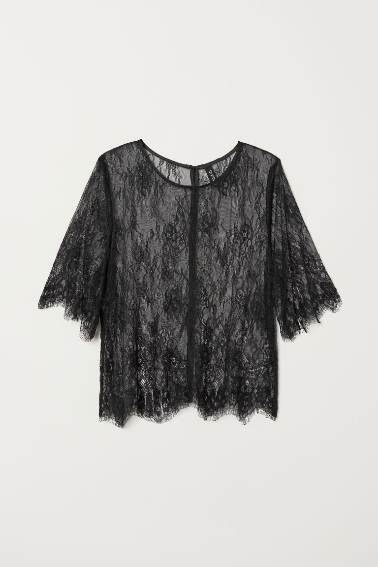ba9478272e71b3 Koronkowa bluzka | <3 | Black lace blouse, Lace tops, Blouse