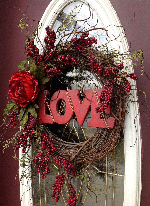 valentines day wreath door decor love happy holiday valentines valentine wreath. Black Bedroom Furniture Sets. Home Design Ideas